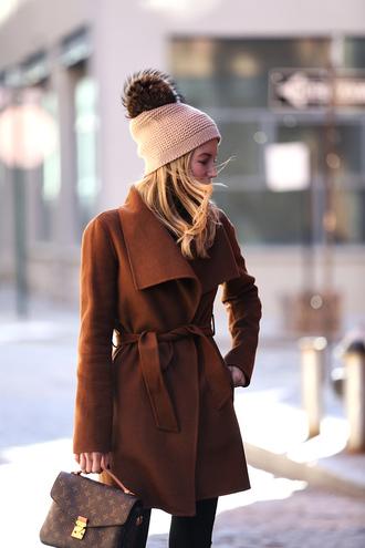 coat tumblr brown brown coat beanie pom pom beanie bag printed bag pom poms louis vuitton louis vuitton bag winter outfits winter look winter coat winter swag