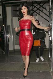 dress,bodycon dress,red dress,red,kylie jenner,pumps,midi dress,pencil dress,sexy dress,shoes,leather,leather dress,strapless,strapless dress