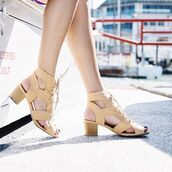 shoes,short heels,strappy heels,fashion,trendy,lace up heels,sandal booties,sandal boot,peep toe,mod,new,modern bootie,qupid