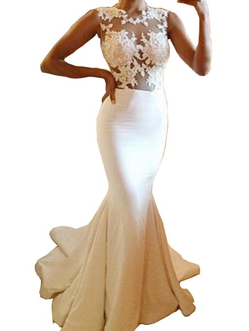 Nextshe 2015 spring summer brand new women evening mermaid dress sleeveless hollow out lace spliced vestidos longo de festa