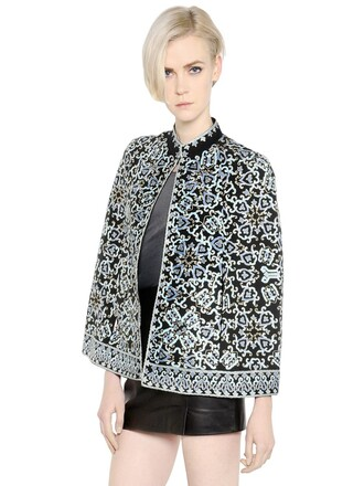 cape embroidered floral silk blue black top