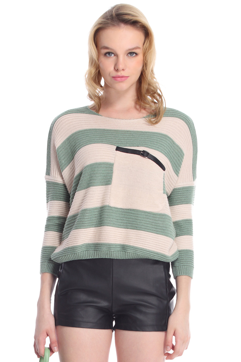 ROMWE | ROMWE Striped Oblique Pocket Jumper, The Latest Street Fashion