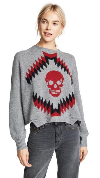 sweater skull sweater skull geometric grey heather grey