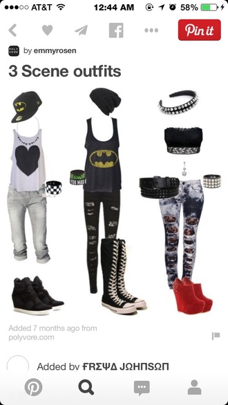 black batman tanktop black long sneakers black ripped jeans
