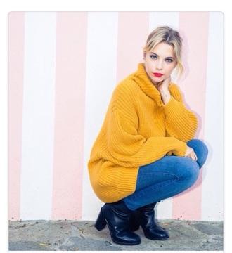 mustard oversized sweater oversized ashley benson pretty little liars oversized turtleneck sweater