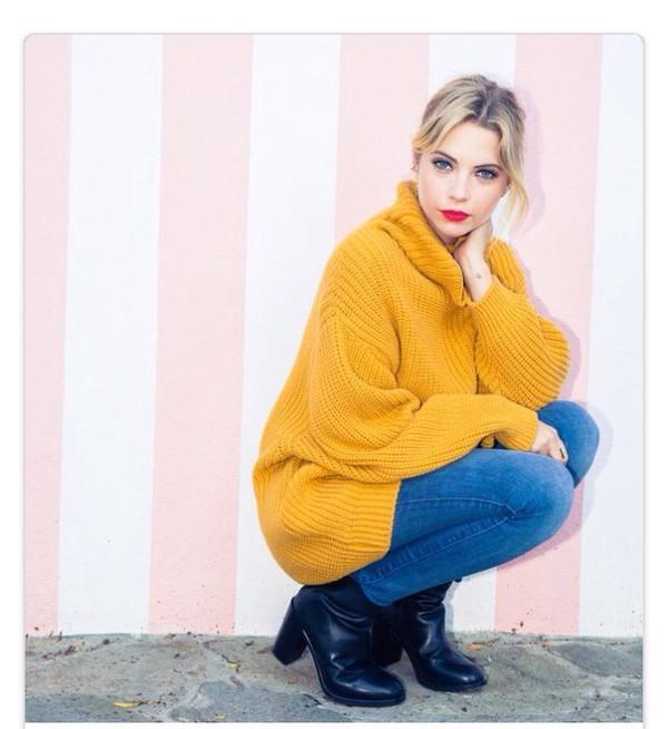 Sweater: mustard, mustard, oversized sweater, oversized, ashley ...