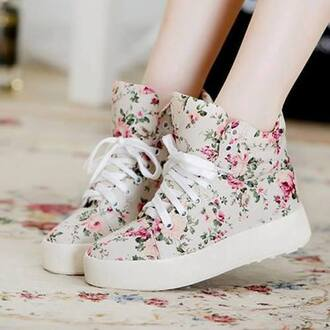 shoes floral floral shoes skater white pink liberty shoes girly likeforlike