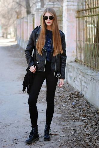 yuliasi blogger jacket sweater jeans bag shoes sunglasses jewels