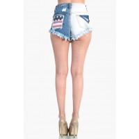LoveMelrose.com From Harry & Molly | Distressed American Flag Ombre Shorts