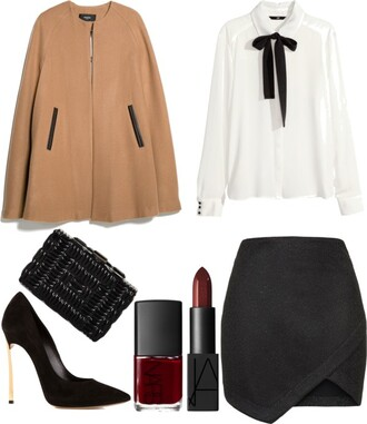 skinny hipster blogger nail polish make-up jacket cape outfit camel asymmetrical clutch