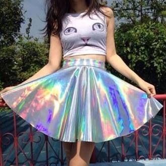 skirt holographic cats sea punk kawaii