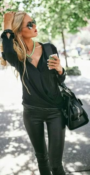 blouse black blouse black, skinny, leather pants fabric style?