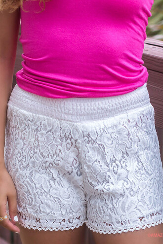 shorts lace white comfort summer beach boho pretty amazinglace