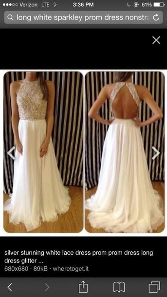 dress white long backless pom dresss