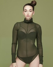 top,bodysuit,sheer,sheer bodysuit,olive green,olive bodysuit,olive green bodysuit,green,green bodysuit,flyjane,long sleeves,long sleeve bodysuit