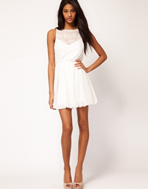 Tfnc skater dress with textured mesh top at asos