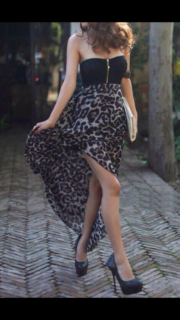 black pattern zip leopard print elegant dress beautiful