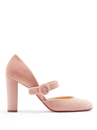 pumps velvet nude shoes