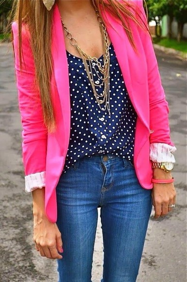blouse polka dot jewels jeans blue coat pink jacket neon