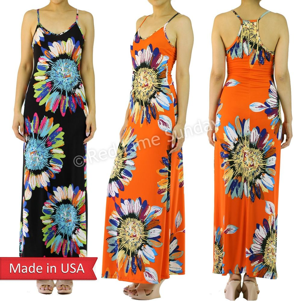 Women Black Orange Sunflower Floral Print Racer Back Color Long Maxi Dress USA