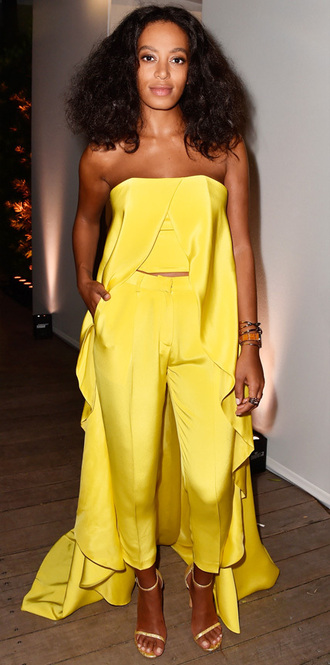 pants crop tops cape solange knowles yellow strapless
