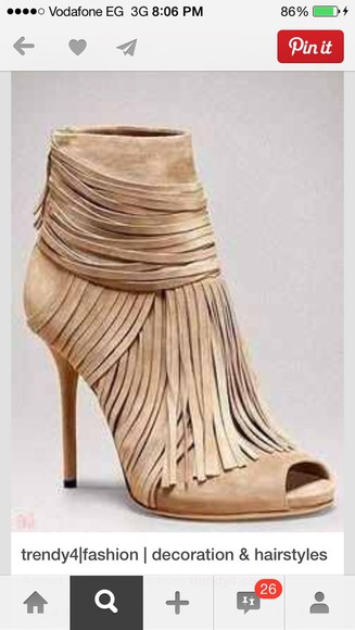beige shoes shoes high heels fringe shoes