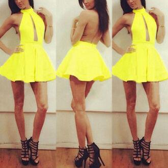 clothes yellow dress skater dress halter neck yellow backless dress