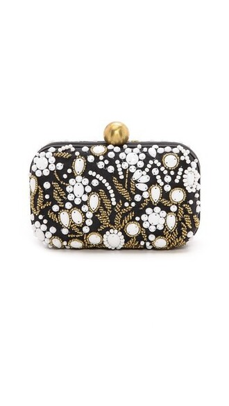 embroidered clutch white black bag