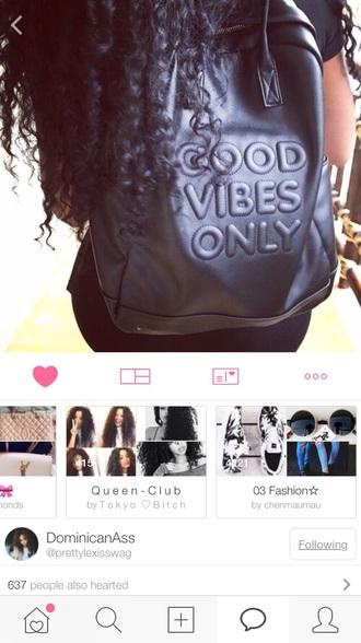bag black good vibes only leather backpack