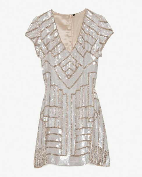 dress the great gatsby sparkle geometric geometric sparkly dress glitter glitter dress short dress short prom dress 1920s sequin dress sequins gold silver cocktail