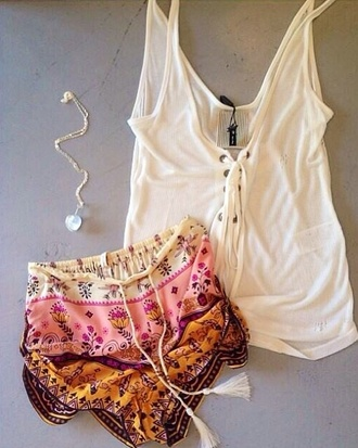 shorts silk shorts silk bohemian shorts multicolor pink white orange blue black tank op necklace cute cute shorts print flowers floral satin satin shorts bohemian shirt