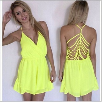 jumpsuit green backless chiffon plunge v neck hollow out sexy dress neon