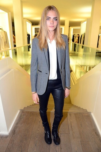 cara delevingne leather leggings blazer boyish