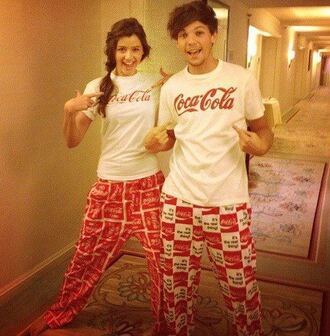 t-shirt pants coca cola louis tomlinson pajamas sleep coke elounor eleanor top jeans louis tomlinson`s girlfriend one direction coke soda soda pop soda pop coke pjs nightwear lounge pants couple coke cola coca cola shirt coca cola pants coke pajamas coca cola pjs matching couples white red pyjamas. cola coat
