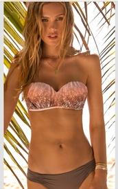 swimwear,two piece tan swimsuit,coral,tan,bandeau bikini,bikini,swimwaer,bikini top,strapless,sequins,bandeau,sequin pink and brown,coral and brown sequin bikini,brown sparkles