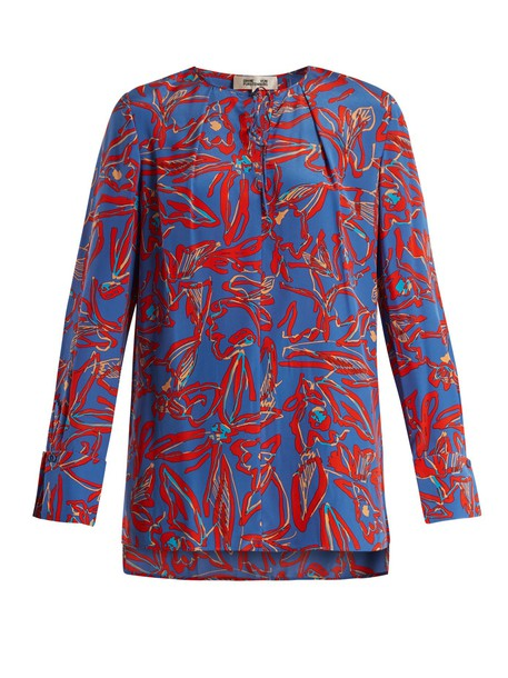 blouse silk print blue top