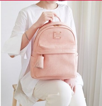 bag pink baby pink leather leather bag leather backpack cute girly nude simple et chic chic school bag school girl back to school nice barbie