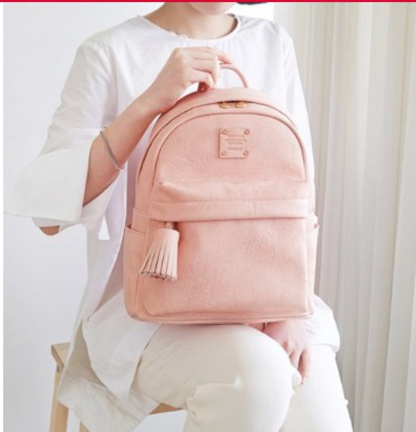 9398fce62b bag pink baby pink leather leather bag leather backpack cute girly nude  simple et chic chic