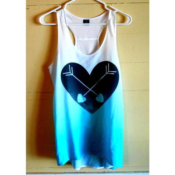 Aqua Blue Black Heart Arrows Graphic Tank Top Small