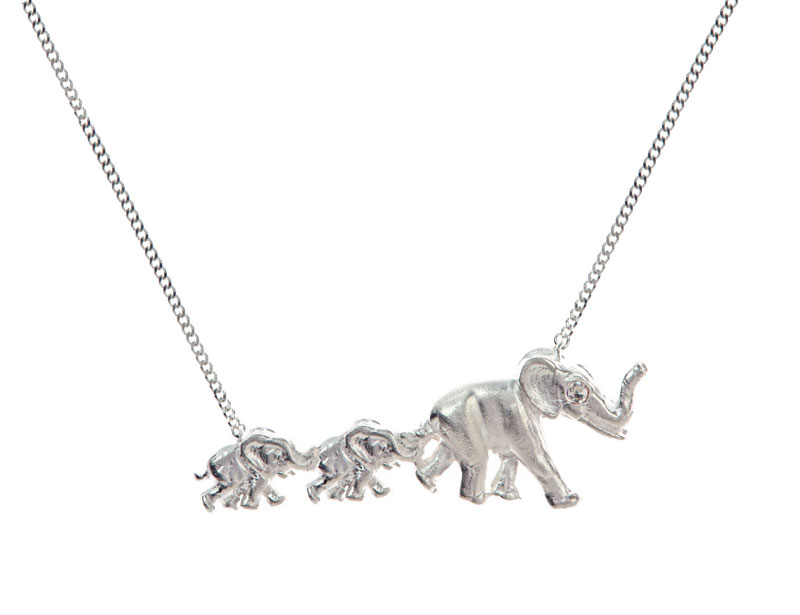 Elephant mama & 2 babies necklace sterling silver
