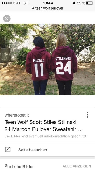 sweater pullover hoodie red teenwolf maron red