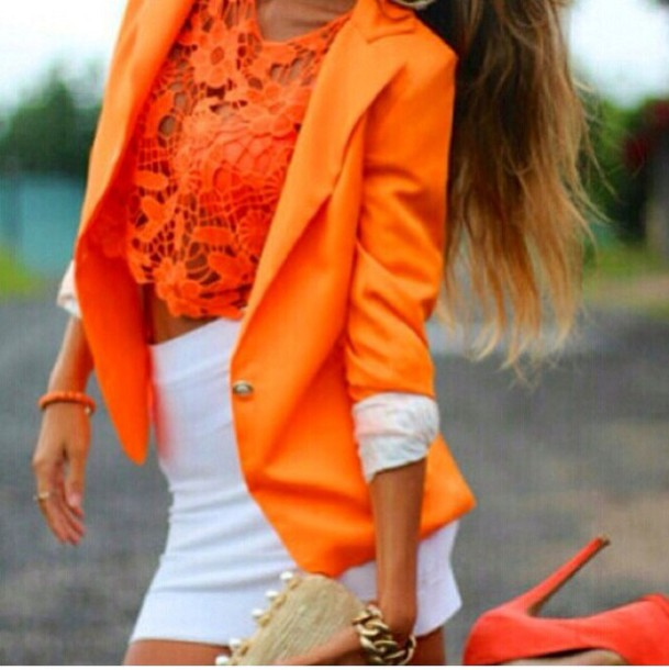 Shirt neon orange coral crochet crop top crop tops summer beach lace - Wheretoget