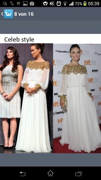 gold sequins long sleeve dress white dress