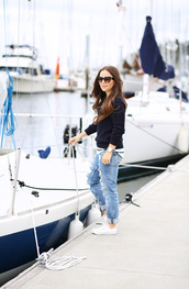 dress corilynn,blogger,sweater,jeans,shirt,shoes,jewels,sunglasses,jacket,black cable knit sweater,black sweater,cable knit,denim,blue jeans,ripped jeans,cuffed jeans,sneakers,white sneakers,converse,white converse