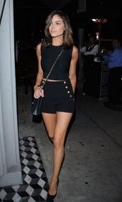 shorts,top,all black everything,olivia culpo,summer outfits