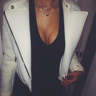 jacket leather jacket white leather white leather jacket white jacket white jacket coat gold biker jacket stule style classy blouse black dress black top