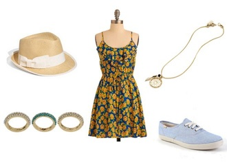 hat style college floral dress fashion bows blue high heels lace up jewels necklace bracelets statement necklace outfit outfit idea sun dress sunflower spring dress dress shoes