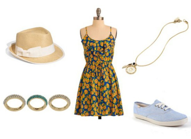 hat style floral dress fashion floral dress bows blue high heels jewels necklace bracelets statement necklace outfit outfit idea sundress sunflower sunflower spring dress dress shoes