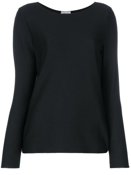 Armani Collezioni - boat neck jumper - women - Polyamide/Spandex/Elastane - 50, Black, Polyamide/Spandex/Elastane