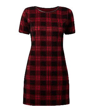 Cameo Rose Burgundy Jersey Check Tunic Dress